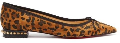 online store e657c e1188 Hall Leopard Print Suede Ballet Flats - Womens - Leopard