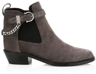 Salvatore Ferragamo Ardisie Chain Suede Chelsea Boots