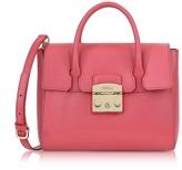 Furla Rose Grained Leather Metropolis Small Satchel Bag