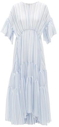 Romance Was Born Louis Striped Crinkled-chiffon Dress - Womens - Blue White