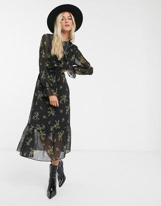 Topshop floral midi dress in black