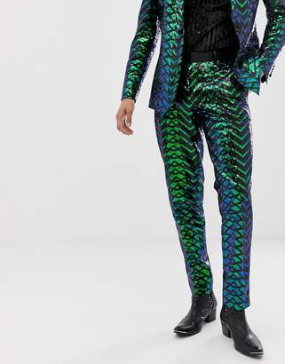 Asos Edition EDITION skinny tuxedo pants in green geo patterned sequins