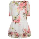 Miss Blumarine Miss BlumarineWhite Floral Silk Dress