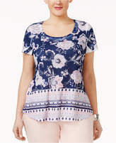 Style&Co. Style & Co Plus Size Mixed-Print Embellished Top, Created for Macy's