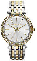 Michael Kors Darci Two Tone Stainless Steel Glitz 3 Hand Bracelet Watch