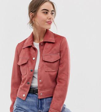 New Look suedette utility trucker jacket in dark pink