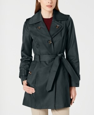 London Fog Hooded Double Collar Belted Water-Resistant Raincoat, Created for Macy's