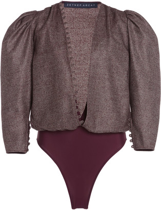 Zeynep Arcay Puffed Wool-Blend Bodysuit