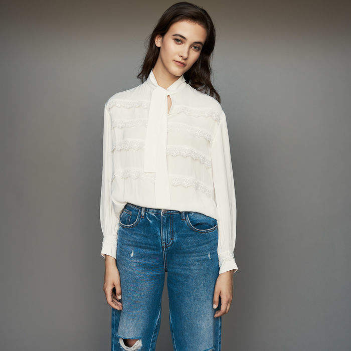 Maje Blouse with embroidered ruffles