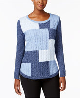 Karen Scott Patchwork Cable-Knit Cotton Sweater, Created for Macy's