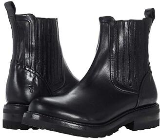 Frye Ella Moto Chelsea (Black Dyed Full Grain Pull-Up) Women's Boots