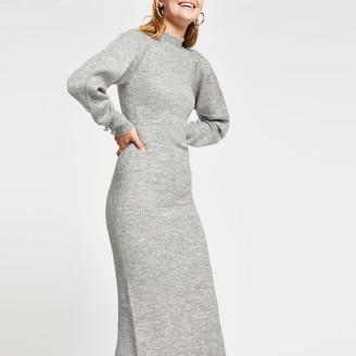 River Island Womens Grey Long sleeve Jumper Dress
