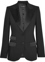 Dolce & Gabbana Satin-trimmed Stretch Wool And Silk-blend Blazer - Black