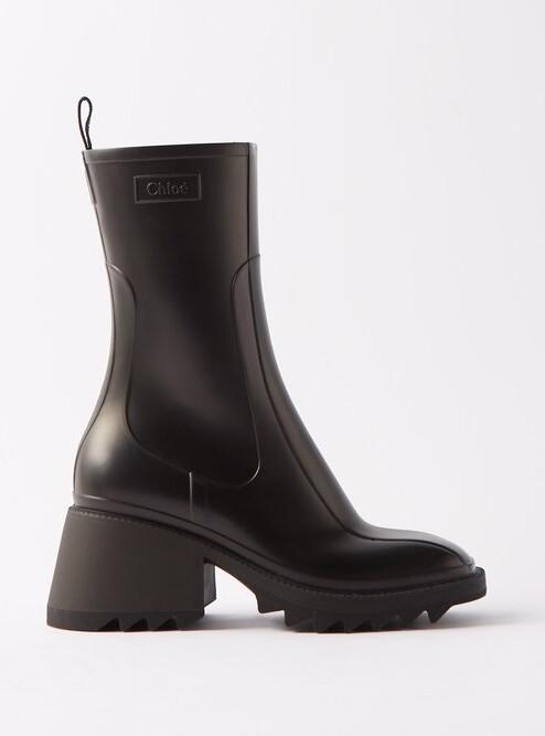 5d1cf7df Betty Heeled Rubber Boots - Womens - Black
