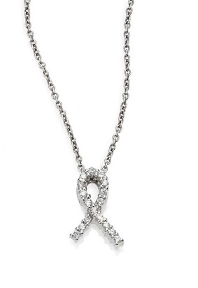 Roberto Coin Tiny Treasures Diamond & 18K White Gold Hope Pendant Necklace