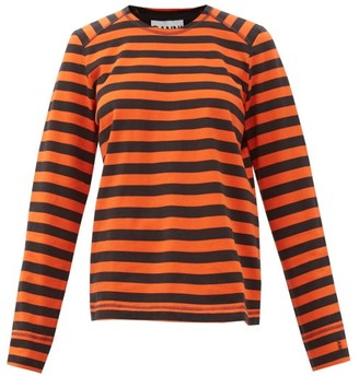 Ganni Striped Organic-cotton Jersey Long-sleeve T-shirt - Black Red