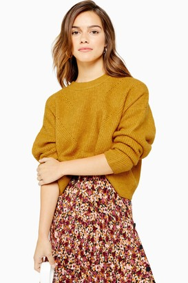 Topshop Womens Petite Mustard Super Soft Pointelle Knitted Jumper - Mustard