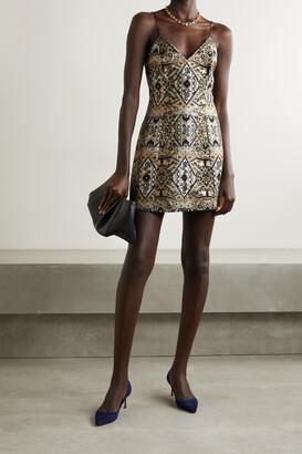 Alice + Olivia - Tayla Floral-brocade Mini Dress - Gold