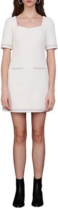 Maje Cotton Blend Tweed Short Sleeve Shift Dress