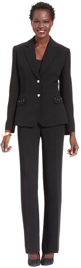 Tahari by Arthur S. Levine Tahari by ASL Suit, Studded-Pocket Jacket & Straight-Leg Pants