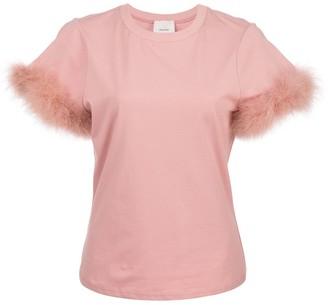 Cinq à Sept Zoie feather trim T-shirt