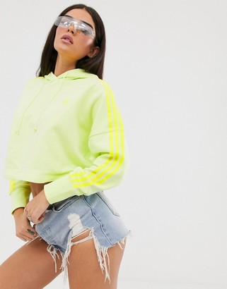 adidas adicolor cropped hoodie in neon yellow