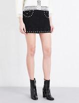 Sandro Embellished suede skirt