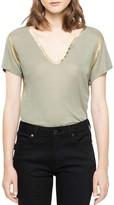 Zadig & Voltaire Short Sleeve Foil Henley T-Shirt