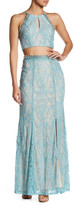 Speechless Embellished Lace Blouse & Maxi Skirt 2-Piece Set (Juniors)