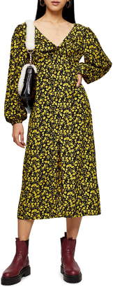 Topshop Floral Godet Twist Front Long Sleeve Midi Dress