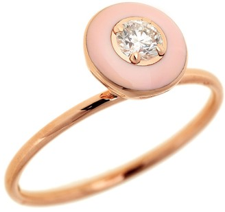 Selim Mouzannar Light Pink Enamel and Diamond Ring - Rose Gold