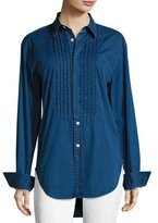 Burberry Jaden Big Shirt with Pintucked Front, Dark Blue