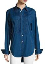 Burberry Jaden Big Shirt with Pintucked Front, Dark Blue