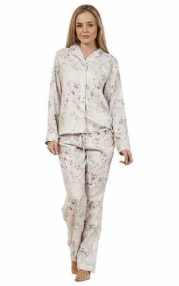 Uc Womens Ex High Street Brand Long Sleeve Viscose Pyjamas Set Ladies Lounge Wear PJs Nightwear (Silver 10-12)