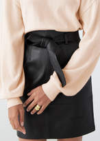 And other stories Leather High Waisted Belted Mini Skirt