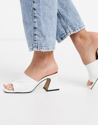 CHIO mules with flared heel in white leather