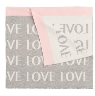 Elegant Baby Blanket Love Pink Grey