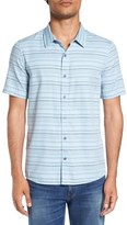 Travis Mathew 'Alikov' Regular Fit Stripe Short Sleeve Sport Shirt
