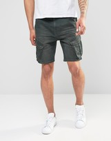 Asos Denim Shorts In Slim Fit With Cargo Styling In Khaki