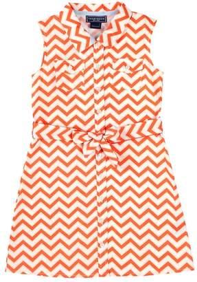 Toobydoo Sleeveless Chevron Shirt Dress (Toddler & Little Girls)