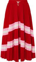 Valentino Plissé Striped Stretch-knit Midi Skirt