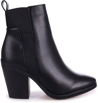 Linzi ROTATE - Black Nappa Pointed Toe Block Heeled Boot