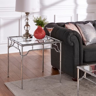 Inspire Q Gennadi Chrome Finish Metal Bamboo End Table With Glass Top by Bold