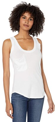 bobi Los Angeles Rounded Hem Pocket Tank Top in Lightweight Jersey (White) Women's Clothing