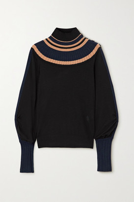 Chloé Striped Ribbed Wool Turtleneck Sweater - Navy