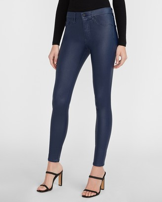 Express Mid Rise Coated Blue Skinny Jeans