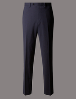 Autograph Navy Tailored Wool Rich Trousers With Lycra