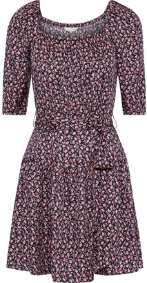Rebecca Taylor Francesca Belted Floral-print Silk-blend Mini Dress