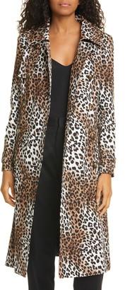 Helene Berman Leopard Print Trench Coat