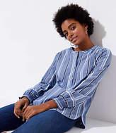 LOFT Petite Striped Smocked Cuff Henley Shirt